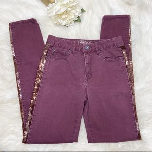 Aeropostale High Waisted Sequin Maroon Jegging